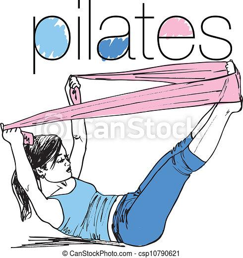 femme, croquis, pilates, bande, résistance, illustration, caoutchouc, gym., vecteur, fitness, sport - csp10790621