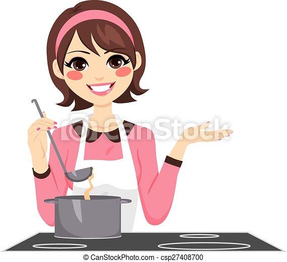 femme, cuisine, heureux - csp27408700