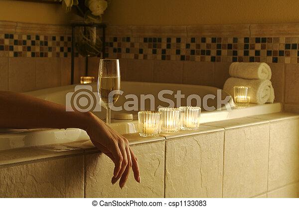 femme, décontracté, bain - csp1133083