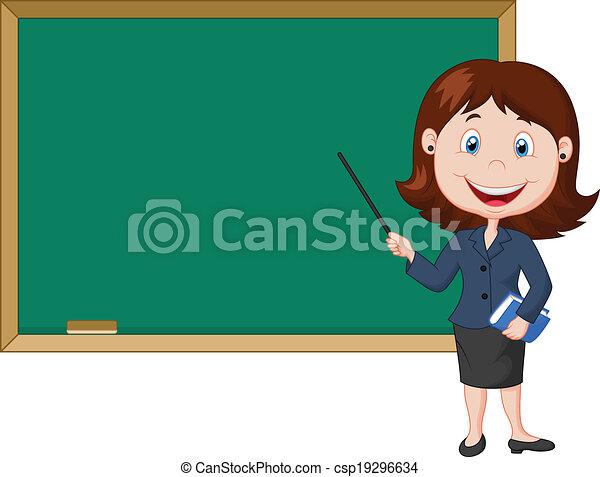 femme debout, dessin animé, nex, prof - csp19296634