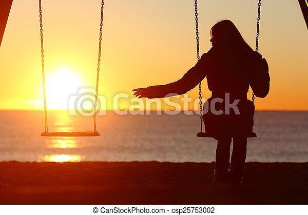 femme, divorcé, disparu, unique, seul, ou, petit ami - csp25753002