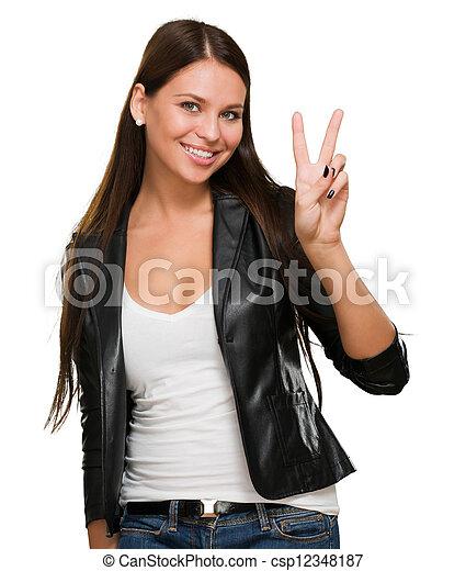 femme, donner, jeune, signe, victoire, joli - csp12348187
