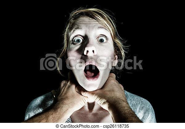 femme, elle, être, victime, étrangler, petit ami - csp26118735