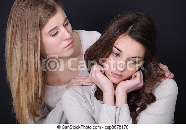 femme, elle, ami, consoler - csp8878176