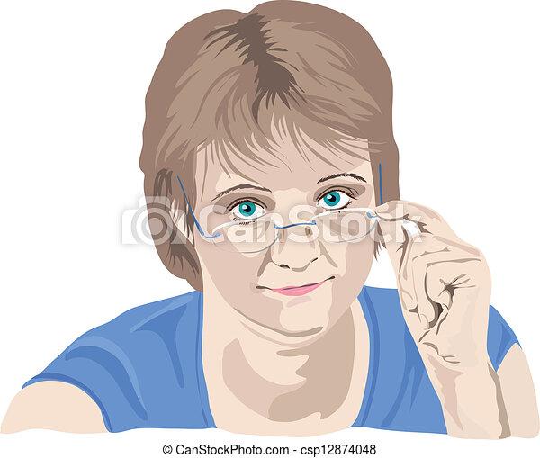 femme, elle, sur, doigts, regarder, mûrir, lunettes - csp12874048