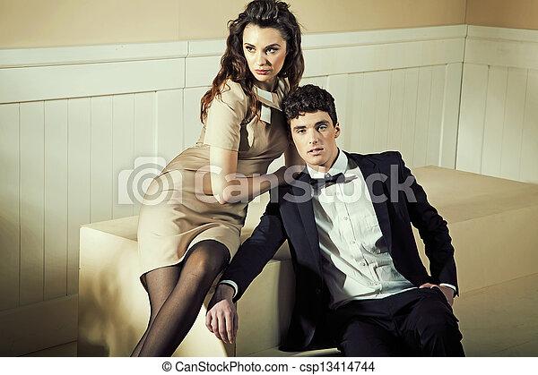 femme, elle, toucher, beau, sensuelles, petit ami - csp13414744