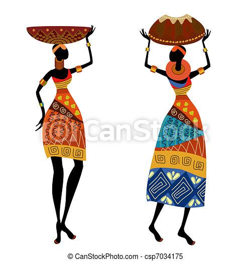 femme, ethnique, vase - csp7034175