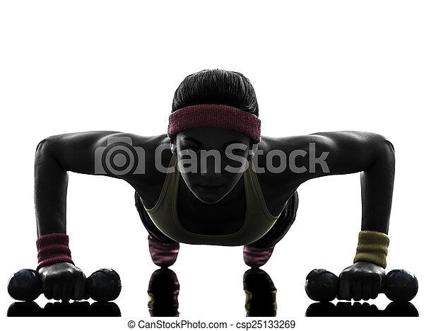 femme, exercisme, augmente, séance entraînement, poussée, fitness, silhouette - csp25133269