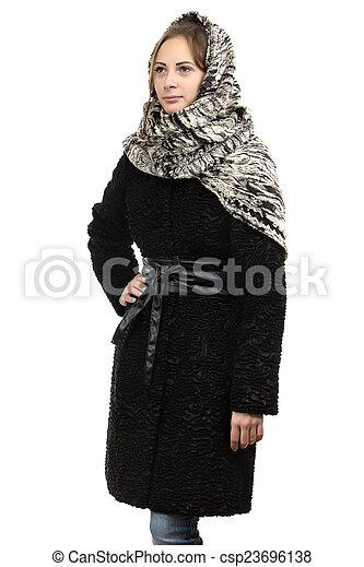 meilleure valeur ebd87 8a32f femme, fourrure, photo, jeune, manteau noir