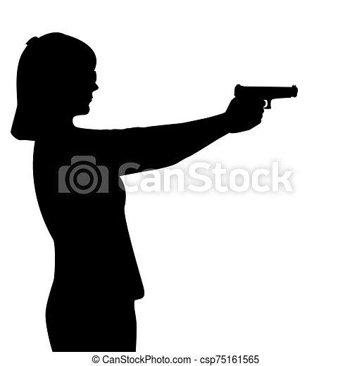 femme, fusil, silhouette - csp75161565