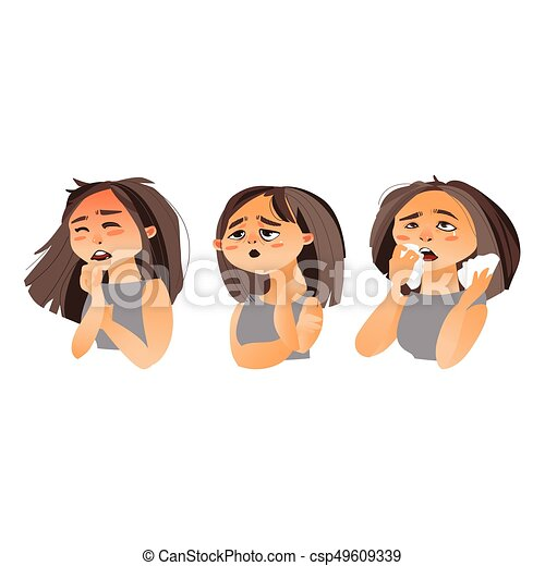 Femme Grippe Liquide Avoir Nez Toux Fatigue Grippe