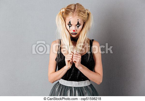 femme, halloween, clown, joli, maquillage, portrait, blond