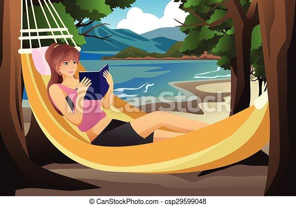 femme, hamac, délassant - csp29599048