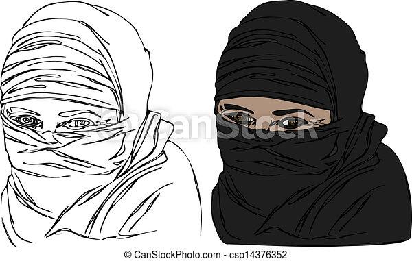 Femme Headscarf Vecteur Voile Femme Religieux Yeux Noir Porter Showing Headscarf Isole Illustrations Une Voile Canstock