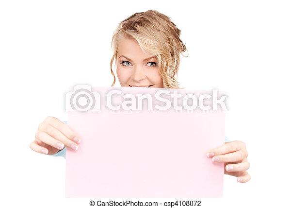 femme heureuse, planche, vide - csp4108072