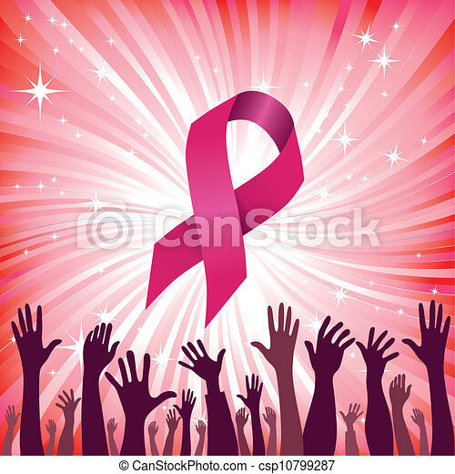 femme, illustration., cancer, vecteur, poitrine, solidarity., ruban - csp10799287