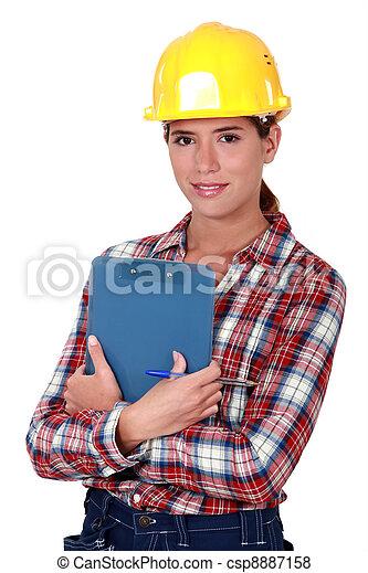 femme, industrie construction, ingénieur - csp8887158