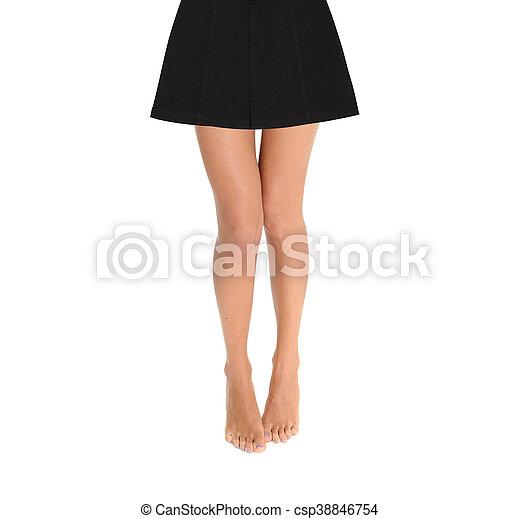 femme, isolé, fond, blanc, jambes, jupe - csp38846754
