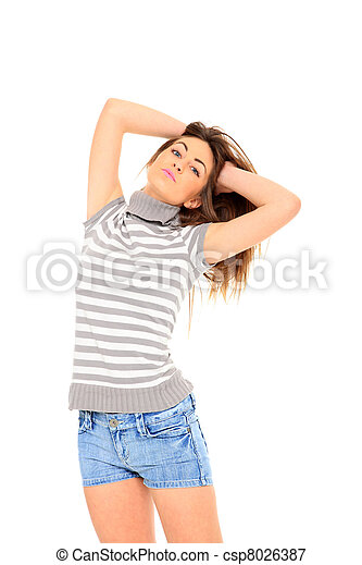 femme, jean, jeune, short - csp8026387
