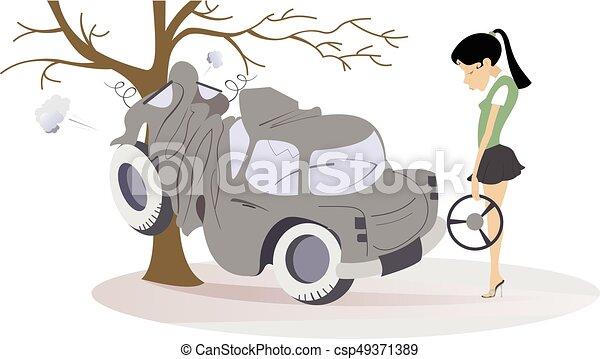 Femme jeune accident avoir obtenu dessin anim route roue femme stands voiture - Accident de voiture dessin ...