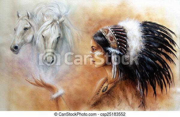 femme, jeune, indien, peinture, airbrush, beau - csp25183552