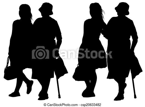 femme, jeune, personnes agées - csp20633482