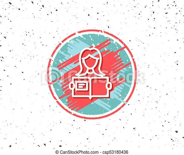 Femme Lire Symbole Livre Ligne Education Icon