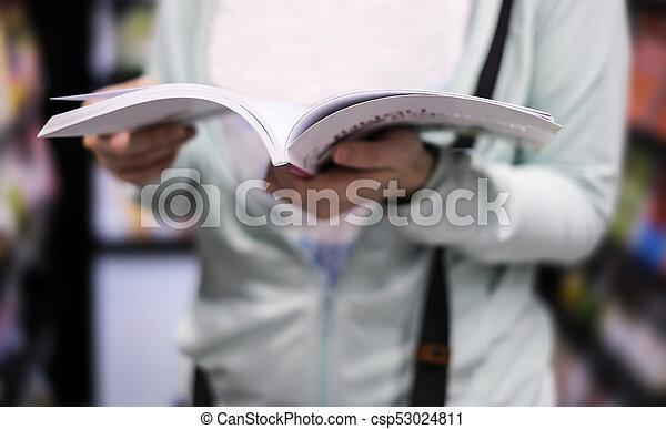 femme, livre, jeune, lecture - csp53024811