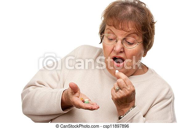 femme, médicament, séduisant, personne agee, pilules - csp11897896