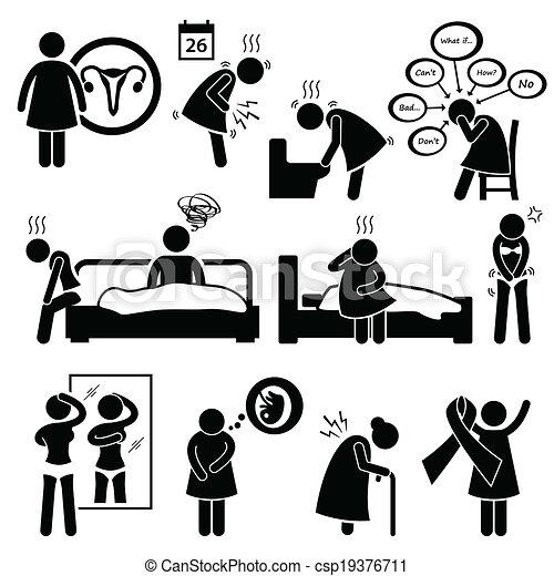 femme, maladie, maladies, maladie - csp19376711