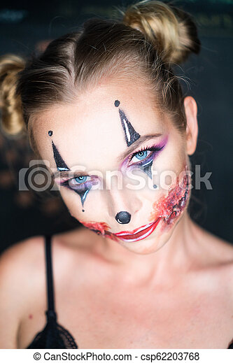 femme, maquillage, halloween, clown