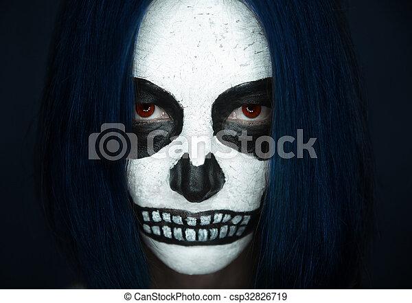 Femme Maquillage Halloween Crane