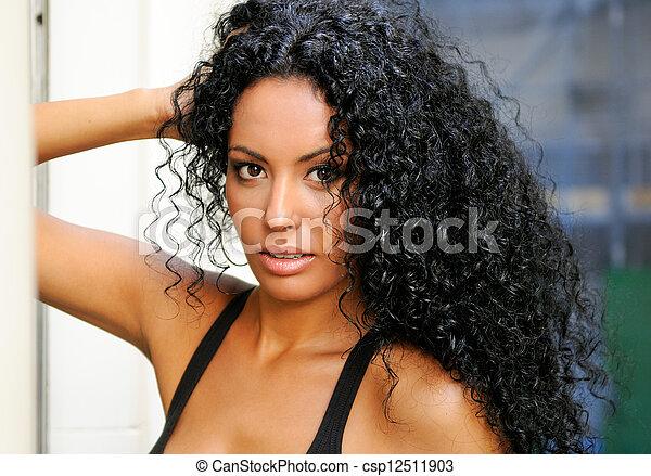 femme, modèle, mode, noir, jeune - csp12511903