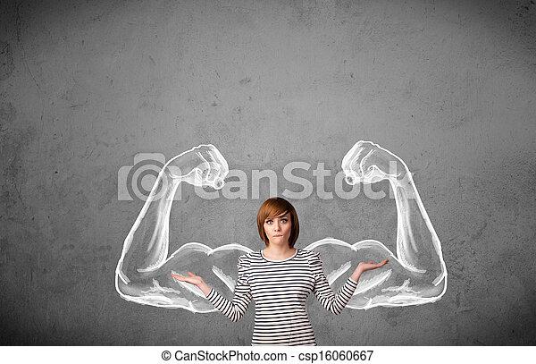 femme, muscled, jeune, fort, bras - csp16060667