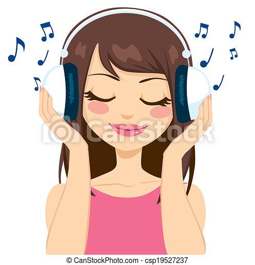 femme, musique écouter - csp19527237
