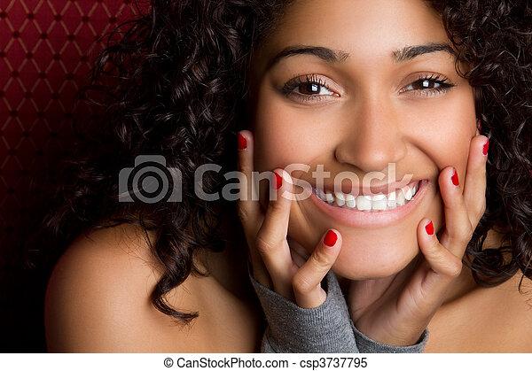 femme, noir, rire - csp3737795