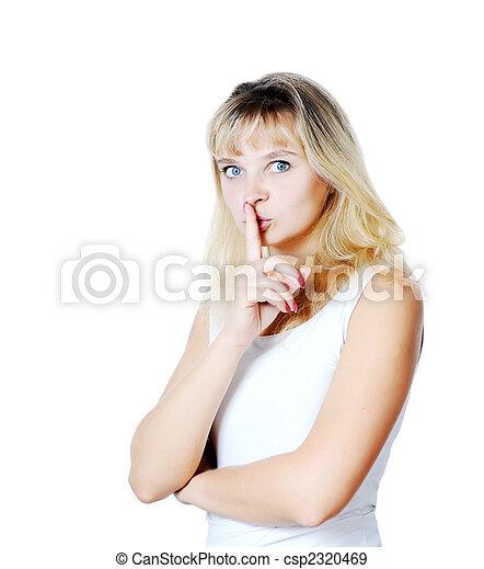 femme, ou, shushing, jeune, faire gestes, calme - csp2320469