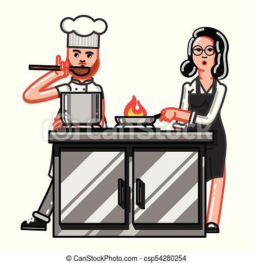 Femme Ouvrier Cuisine Femme Dégustation Nourriture Ouvrier