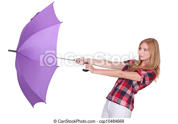 femme, parapluie, elle, balayé, être, loin, vent - csp10484669