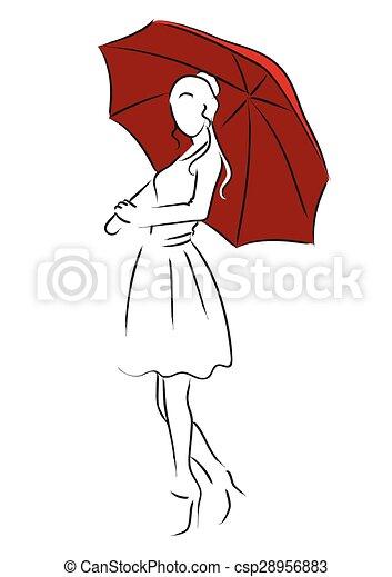 Femme parapluie parapluie simple art ligne girl - Parapluie dessin ...