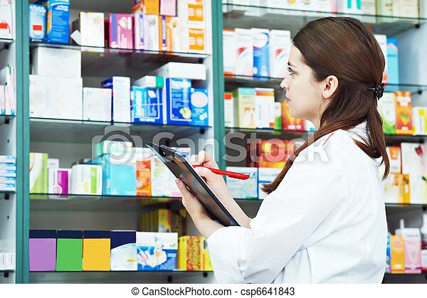 femme, pharmacie, chimiste, pharmacie - csp6641843
