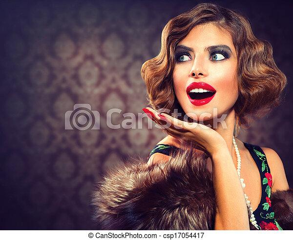 femme, photo, appelé, lady., portrait., retro, vendange, surpris - csp17054417