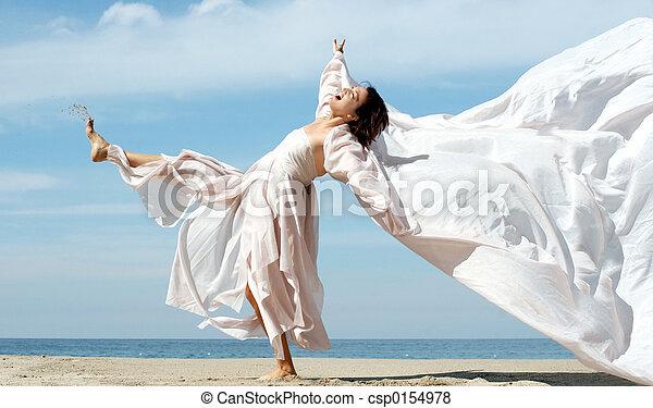 femme, plage - csp0154978
