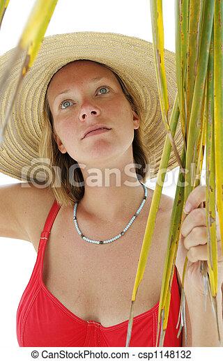 femme, plage - csp1148132