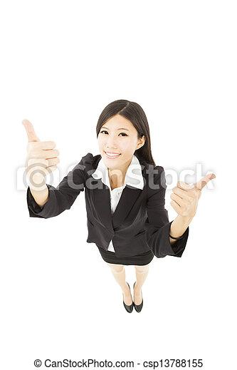 femme, pouce, business, haut, jeune, heureux - csp13788155