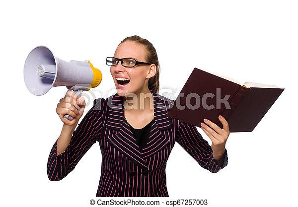 femme, pourpre, jeune, déguisement, tenue, porte voix - csp67257003