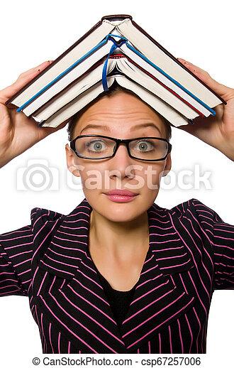 femme, pourpre, jeune, livres, déguisement, tenue - csp67257006
