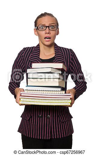 femme, pourpre, jeune, livres, déguisement, tenue - csp67256967