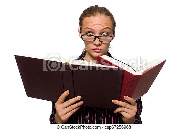 femme, pourpre, jeune, livres, déguisement, tenue - csp67256968