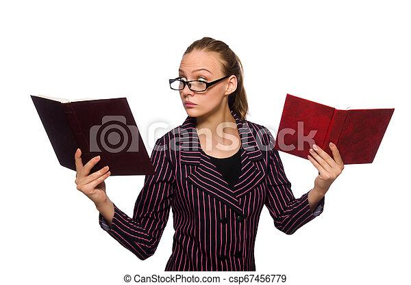 femme, pourpre, jeune, livres, déguisement, tenue - csp67456779